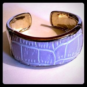 Vintage✨Monet✨ Silver-Tone w Lavender Leather Cuff